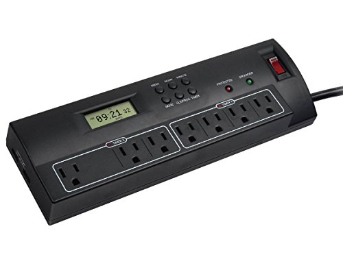 Monoprice 7 Outlet 2100 Joules Power Surge Protector with Du