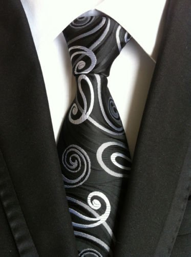 New Classic Paisley Grey Black JACQUARD WOVEN Silk Men's Tie Necktie (New Black Paisley)