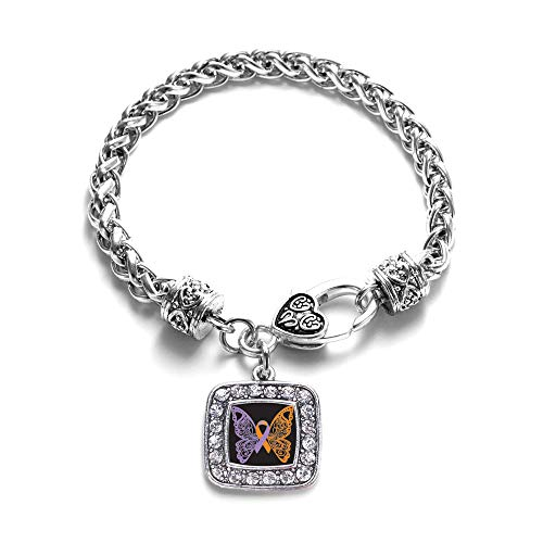 Inspired Silver - Psoriasis Awareness Butterfly Braided Bracelet for Women - Silver Square Charm Bracelet with Cubic Zirconia Jewelry