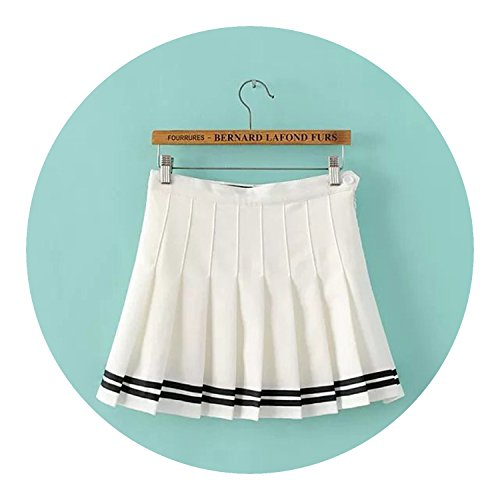 Girls Skirts Pleated Schoolgirls Skirt Uniforms cos Waist Solid Pleated Candy Stripe Skirt,White,XS