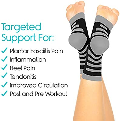 TruCompress Foot Compression Sleeve Toe Wrap Runner Leg Circulation Pain Relief 20-30mmHg Heel Spur Support Men Ankle Splint 2 Pairs Women Arthritis Plantar Fasciitis Socks for High Arch