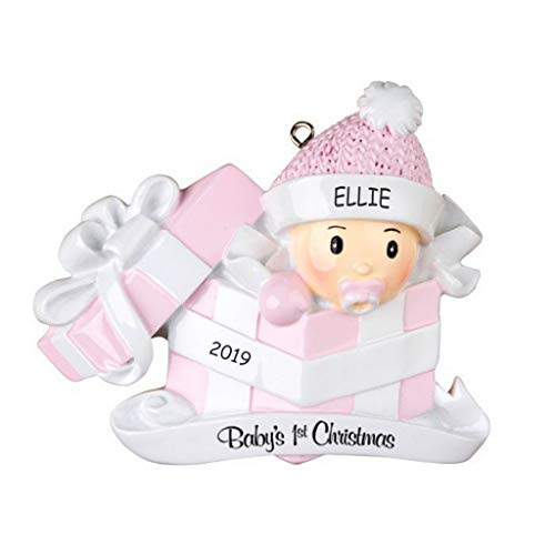 - DIBSIES Personalization Station Personalized Baby in Present First Christmas Ornament (Pink)