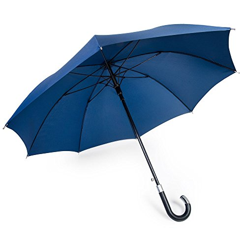 DAVEK ELITE UMBRELLA (Navy Blue) - Quality Cane Umbrella with Automatic Open, Strong & Windproof