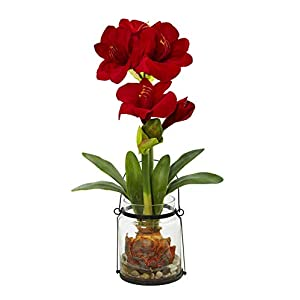 Artificial Flowers -24 Inch Amaryllis with Vase Silk Flowers 49