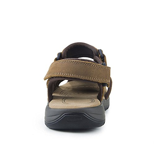 Men's QXH Shoes Round Head Brown Casual Sandals Light Leather Beach Breathable ffrwFqgdp