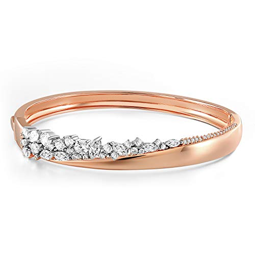 Angelady Swarovski Crystal Bead Bangle Bracelets Gifts for Women Girls, Elegant Also Free Style, 7 inch Rose Gold Bracelets Best Jewellery Gift to Lover Girlfriend Wife