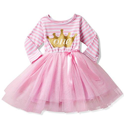 (NNJXD Girl Shinny Stripe Baby Girl Long Sleeve Printed Tutu Dress Gold&Light Pink 10-12 Months)