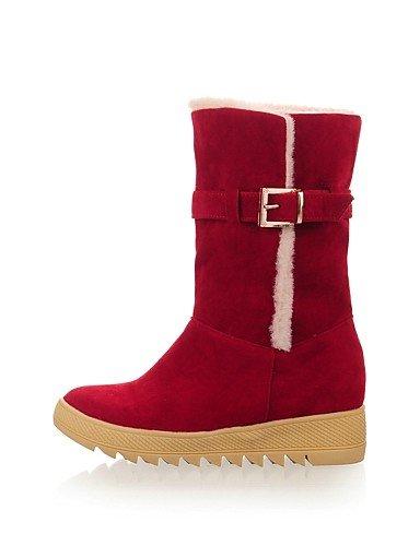 Tacón Vestido Xzz Cn40 Redonda Cuñas Punta Zapatos Uk6 Rojo Eu39 Negro 5 5 De Nieve us8 5 Red Botas Vellón us8 Cuña Marrón Brown Mujer Casual tBBvF