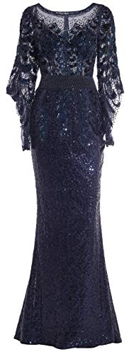 Meier Women's Two Tone Sequin Prom Formal Gown with Bell Sleeves (Navy, 14)
