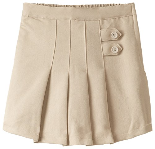 (4717) Genuine School Uniforms Girls 2 Tab Pleated Scooter Skort (Sizes 4-16) in Khaki Size: 6 Girls Skort Skirt Shorts