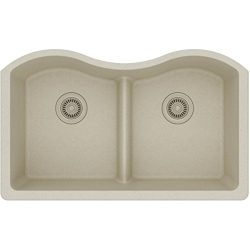 Elkay Quartz Classic ELGULB3322BQ0 Bisque Equal Double Bowl Undermount Sink with Aqua Divide