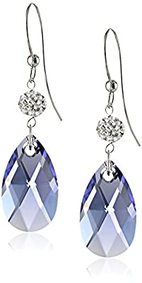 Sterling Silver Swarovski Elements Clear and Tanzanite-Colored Crystal Dangle Earrings