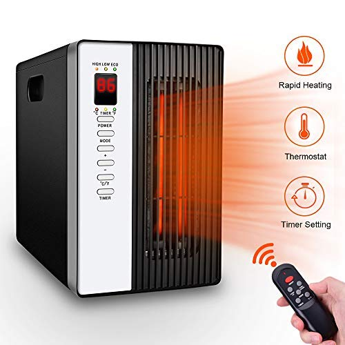 Portable Space Heater, 1500W Electric Heater with 3 Modes, Timer Setting, Remote Control Portable Cabinet Heater Intelligent Programmable Thermostat, Energy-Saving Indoor Infrared Heater for Home (Best Energy Saving Electric Heaters For Home)