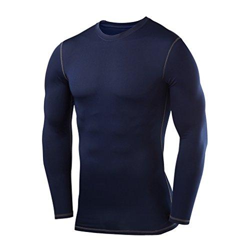 PowerLayer Men's Boys Compression Shirt Long Sleeve Base Layer Thermal Top - Navy Medium ()