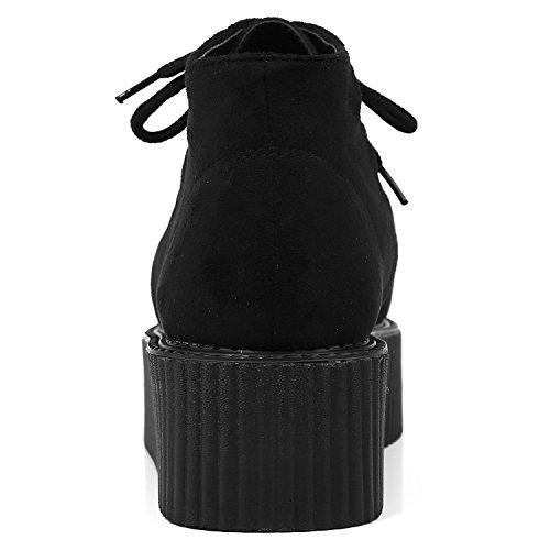 Roseg Lacets Punk Cheville Bottes Gothique Creepers Femmes Noir Chaussures Plateforme ZpwqZr