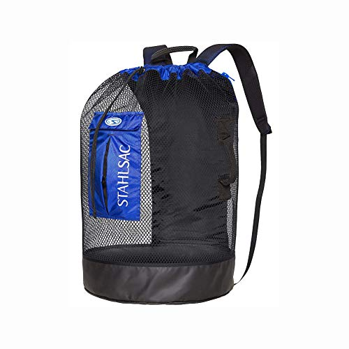 Stahlsac by Bare Bonaire Deluxe Mesh Wet/Dry Backpack (Black/Blue)