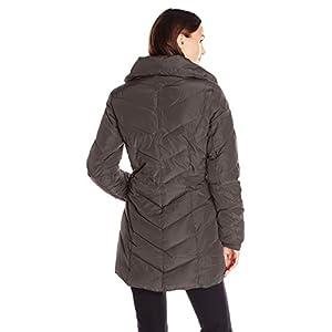 Steve Madden Women's Packable Chevron Quilted Winter Fleece Lined Puffer Coat - Titanium (Size 1X)