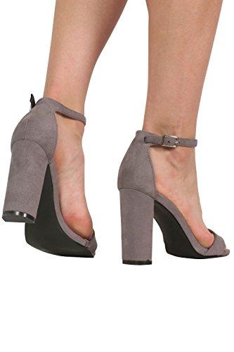 à clair peine faux talon PILOT® là gris suède à sandales bloc lanières P6InS6Aq