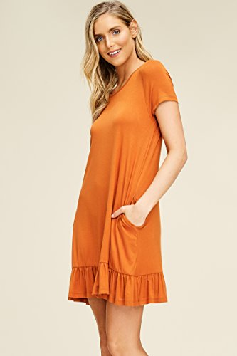 Mini Women's Swing Comfy Neck Short with Bottom Annabelle Orange Pockets Burt Dresses Ruffle Round Sleeve zBwUdq