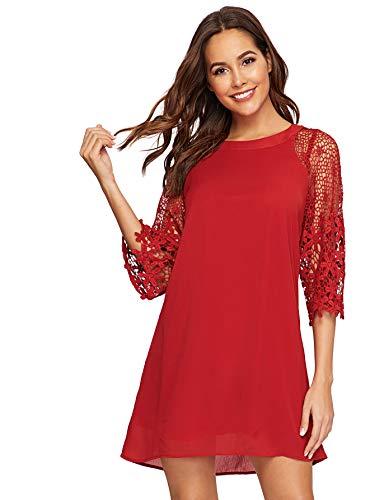 MAKEMECHIC Women's Casual Crewneck Half Sleeve Summer Chiffon Tunic Dress Red M