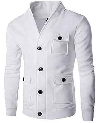 GAGA Men's Stylish Lightweight Fall Sweater Cardigan Shawl Collar