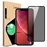 Privacy Screen Protector Compatible for iPhone XR - ICHECKEY 4D Curved Anti-Spy Anti-Peeping Tempered Glass Screen Cover Shield for Apple iPhone XR, 6.1 Inch
