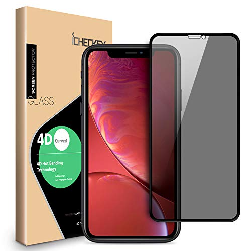 Privacy Screen Protector for iPhone 11/iPhone XR - ICHECKEY 4D Curved Anti-Spy Anti-Peeping Tempered Glass Screen Film for iPhone 11/iPhone XR, 6.1 Inch