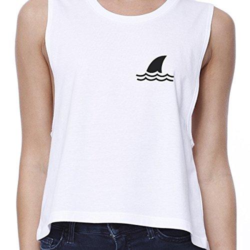 Mini Unique White Femme Sans 365 Shark Top Crop Printing Pull Taille Manche naT0OWq