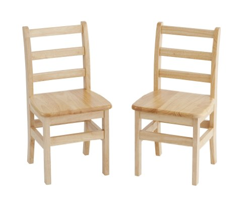 ECR4Kids 14'' Hardwood 3-Rung Ladderback Chair, Natural (2-Pack) by ECR4Kids