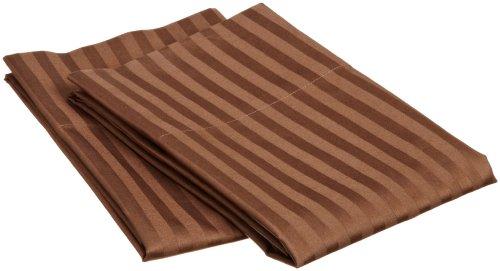 Superior 100% Egyptian Cotton 650 Thread Count Standard 2-Piece Pillowcase Set, Single Ply, Stripe, Chocolate