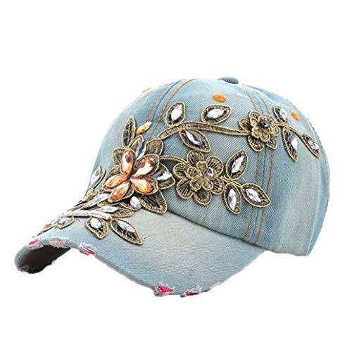 Glittered Rhinestone Baseball Caps for Women Fashion Denim Lace Flower Snapback Hats Bling Sparkle Hip Hop Trucker Hat