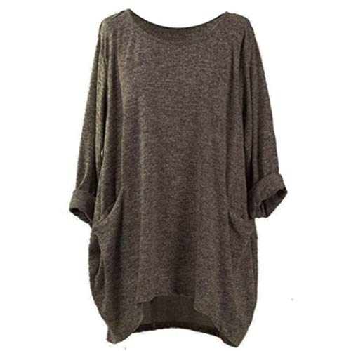 (Trendinao Women's Tunics Casual Long Sleeve Irregular Loose Blouse T-Shirt (Coffee,Medium))