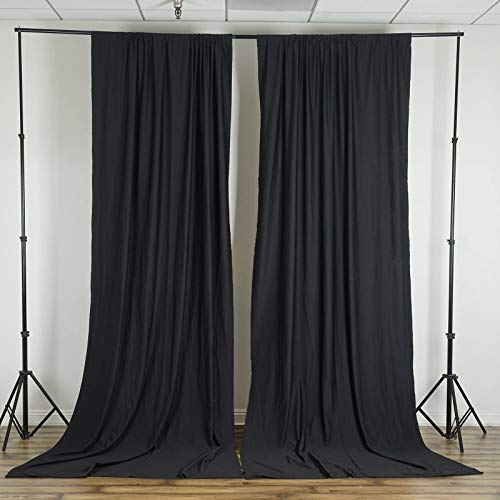 BalsaCircle 10 ft x 10 ft Black Polyester Photography Backdrop Drapes Curtains Panels - Wedding Decorations Home Party Reception Supplies