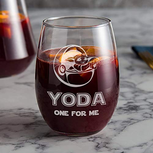 Baby Yoda One For Me Stemless Wine Glass Gift for Significant other Yoda one for me | Perfect Gift for Boyfriend, Girlfriend, Wife and Husband! 21 oz