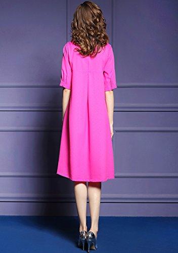 `s Allentato Delle Rosso Elegante Vestito Ricamo Cotyledon Linea Casuale Abito Una Donne TdxATwY