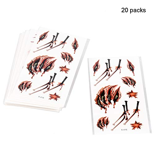 Halloween Tattoos, 20 Sheets Halloween Makeup Tools Horror Realistic False Bloody Wounds Scars Bite Tattoo Children's Health Makeup Props for Zombie Role-Playing Costume Party Theater Group -