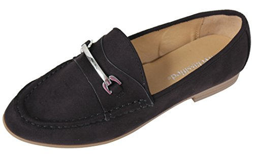 Donna Classificata Da Donna Argento Tono Cavallo Mocassino Slip On Sandali Neri