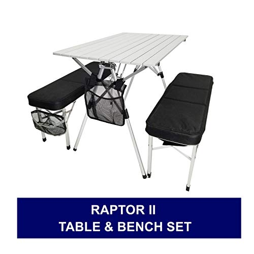 SAME DAY SHIPPING--Oasis RAPTOR II Deluxe Compact Table & Bench Set-HEAVY DUTY STYLE-Unique Lightweight SUITCASE STYLE Design-MILITARY GRADE ALUMINUM-10 Years Warranty