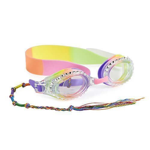 Rainbow Swimming Goggles For Kids by Bling2O - Anti Fog, No Leak, Non Slip and UV Protection - Rasta Royal Colored Fun Water Accessory Includes Hard Case