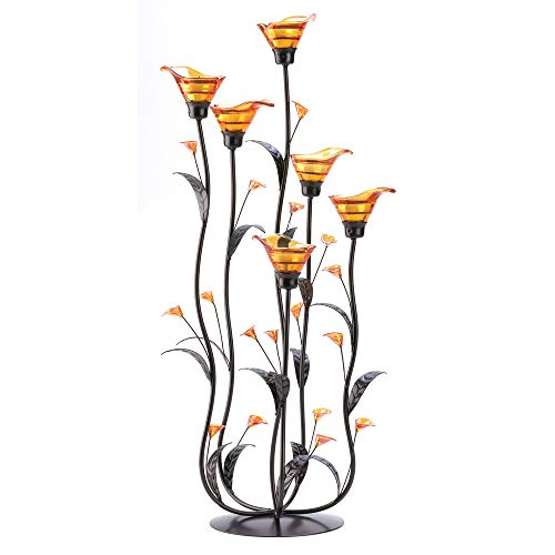 Harpy So Amber Calla Lily Candle Holder - Beautiful Tall Rustic Home Decor - Glass Metal Curved Stems Stand - Tealight Centerpiece Candelabra Candle Holders