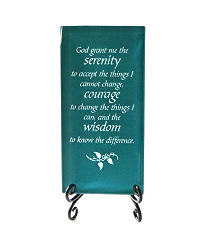 Lifeforce Glass The Serenity Prayer Inspirational Glass Plaque. Encouraging and Centering Words to Empower. Includes a Folding Easel Dark Teal. ()