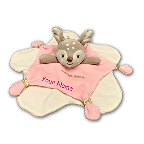 Mary Flower Gold - Mary Meyer Personalized Itsy Glitzy Pink and Gold Baby Fawn with Embroidered Flowers Baby Blanket Character Snuggle Blanky - 13 Inches