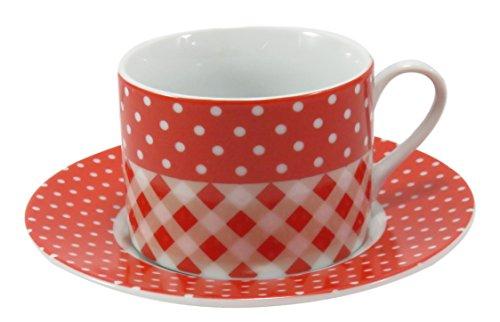 Coffee Tea Cup Mug with Saucer Porcelain Red White Checkered Polka ...