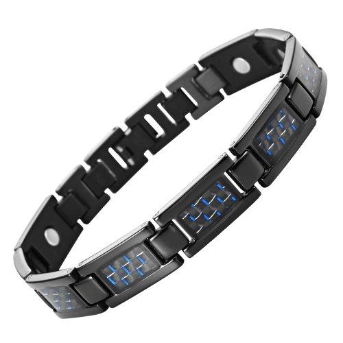 Mens Link Black Bracelet Stainless Steel -Titanium Elements - Blue Carbon Fiber Insets (Magnetic Therapy)