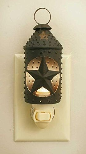 Punched Star Paul Revere Night Light - Rustic Brown