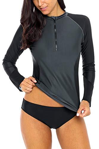 (Sociala Rash Guard Women Zip Front Swim Shirt Long Sleeve Rashguard Shirts M)