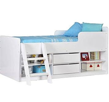 felix lit mi hauteur en bois contemporain avec espace de rangement gnreux idale - Lit Mi Hauteur