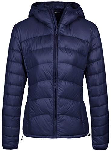 Wantdo Women's Lightweight Packable Down Jacket Insulated Coat, Navy, X-Large