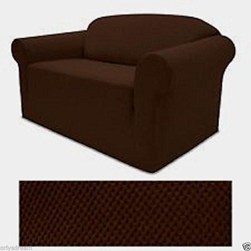 STRETCH FORM FIT - 3 Pc. Slipcovers Set, Couch/Sofa + Loveseat + Chair Covers - DARK BROWN (Couch And Loveseat Sets Brown)
