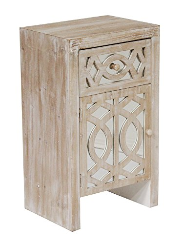 Heather Ann Creations Modern Accent Storage Cabinet with Door and Top Drawer, Beveled Mirrored Finish, 18